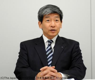 会見する田口社長