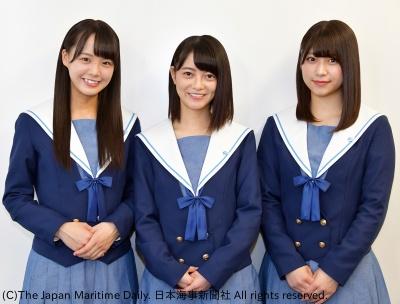 「STU48」メンバーの(左から)福田朱里さん、田中皓子さん、藤原あずささん