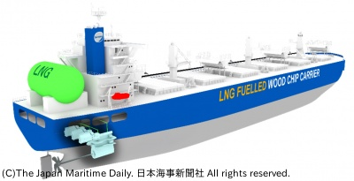 LNG燃料木材チップ船(イメージ)