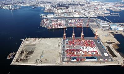 CONPASの試験運用が行われる南本牧CT=横浜市港湾局提供