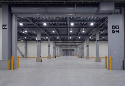 倉庫面積が倍以上に拡大(10日、NGLC2階ロジスティクスセンター)
