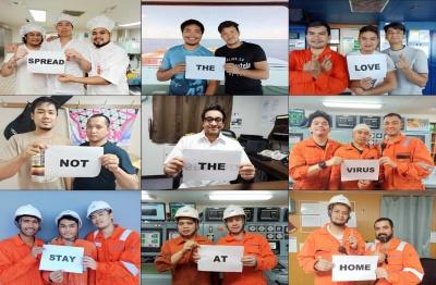 SNS(ソーシャル・ネットワーキング・サービス)上には、乗船中の船員を励ます言葉や船員から家族へのメッセージが数多く投稿されている(提供 日本郵船)