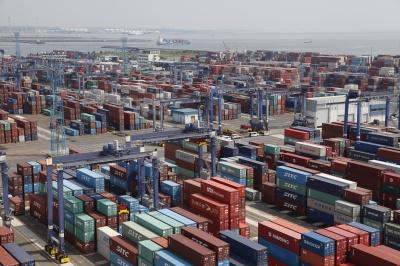 鍋田CTでは現在35 基のRTGが稼働している(名古屋港管理組合提供)