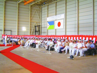 ジブチで行われた海賊対処拠点開所式に船協の訪問団も出席(11年7月)