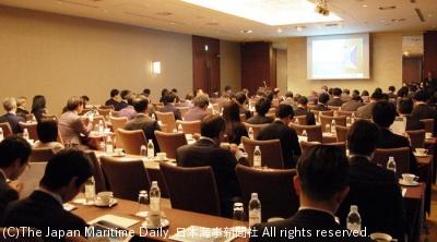 東京都内で開いた海事関係者、金融機関向け説明会