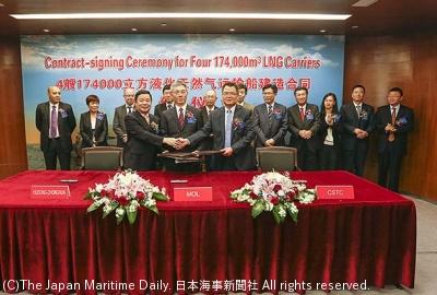 商船三井と滬東中華造船の建造契約調印式(6月29日)