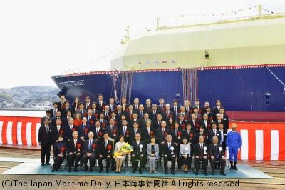 日本郵船/JERA向けLNG船命名。「パシフィック・ミモザ」(1面)