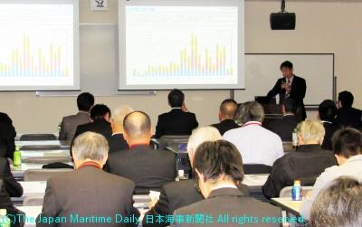 海事産業や大学関係者、学生ら80人が参加したシンポジウム